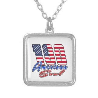 100  American Soul Square Pendant Necklace