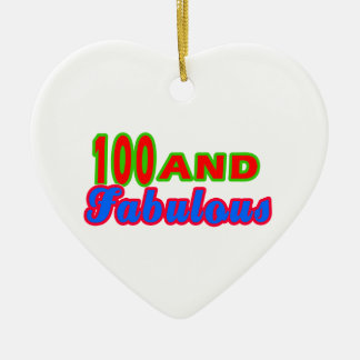 100 and Fabulous Birthday Designs Double-Sided Heart Ceramic Christmas Ornament