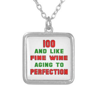 100 and like fine wine aging to perfection square pendant necklace