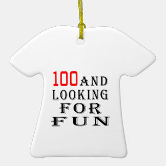 100 and looking for fun birthday designs Double-Sided T-Shirt ceramic christmas ornament