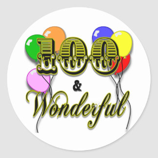 100 and Wonderful Birthday Gifts & Apparel Classic Round Sticker