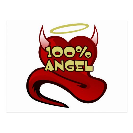 100% Angel Devil Heart Post Card