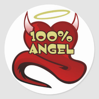 100% Angel Devil Heart Classic Round Sticker