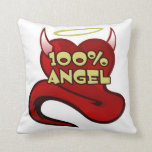 100% Angel Throw Pillow