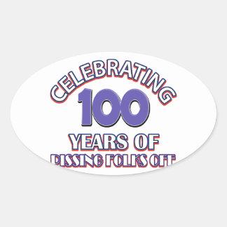 100 años de infierno de aumento pegatina ovalada