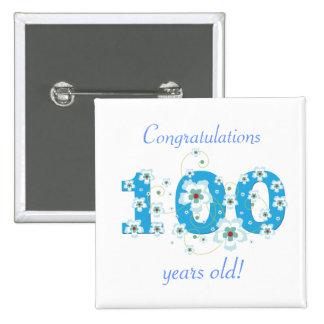 100 años del cumpleaños del botón de la enhorabuen pin