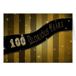 100 años gloriosos de cumpleaños tarjeta