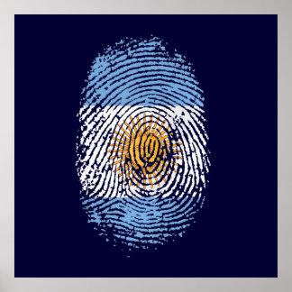 100% Argentinian DNA fingerprint Argentina flag gi Poster