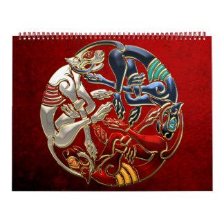 100 Arte sagrado del Celtic - tres perros Calendario