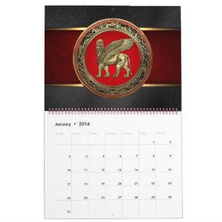 [100] Assyrian Winged Lion - Gold Lamassu Calendar