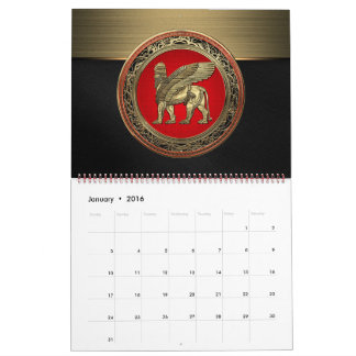 [100] Assyrian Winged Lion - Gold Lamassu Calendar
