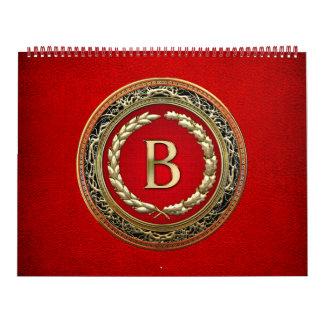 "[100] ""B"" Gold Vintage Monogram Calendar"