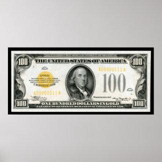 $100 BILL  1934 SERIES POSTER