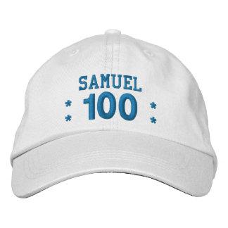 100 Birthday Custom Name BLUE Embroidery V01F4 Embroidered Baseball Hat