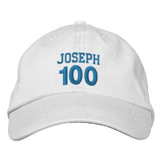 100 Birthday Custom Name BLUE Embroidery V01F Baseball Cap