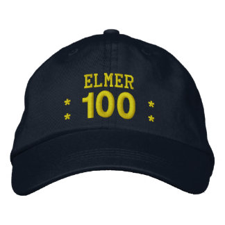 100 Birthday Custom Name NAVY and YELLOW V01F5 Embroidered Hats