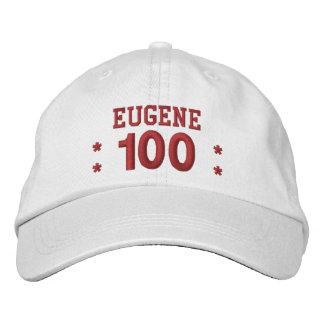 100 Birthday Custom Name RED Embroidery V01F3 Embroidered Baseball Cap