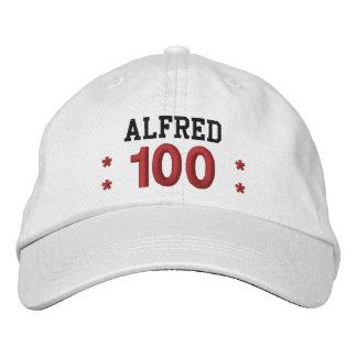 100 Birthday Custom Name RED WHITE BLACK V01F5 Embroidered Baseball Cap
