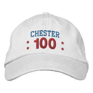 100 Birthday Custom Name RED WHITE BLUE V01F3A1 Embroidered Baseball Hat