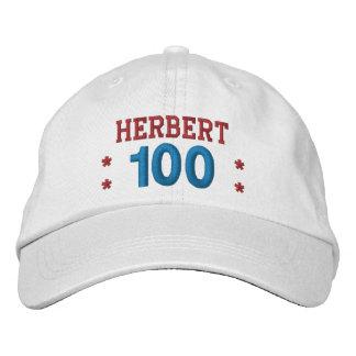 100 Birthday Custom Name RED WHITE BLUE V01F5 Embroidered Baseball Hat