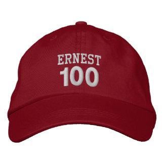 100 Birthday Custom Name WHITE Embroidery V01F1 Embroidered Baseball Cap