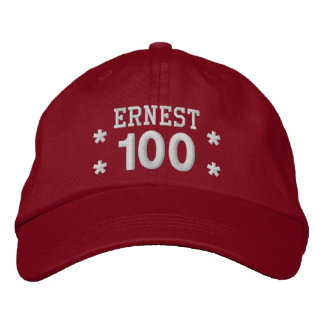 100 Birthday Custom Name WHITE Embroidery V01F1 Embroidered Baseball Hat