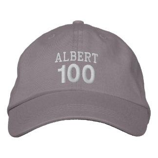 100 Birthday Custom Name WHITE Embroidery V01F Embroidered Baseball Cap