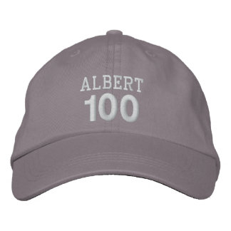 100 Birthday Custom Name WHITE Embroidery V01F Embroidered Baseball Caps