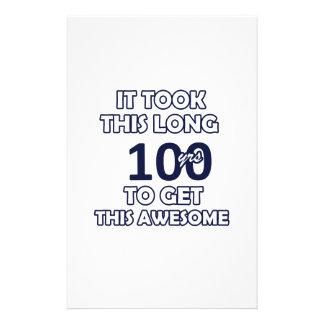100 birthday design stationery