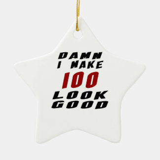 100 Birthday Designs Double-Sided Star Ceramic Christmas Ornament