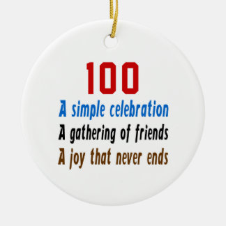 100 birthday designs Double-Sided ceramic round christmas ornament