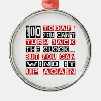 100 Birthday Designs Round Metal Christmas Ornament