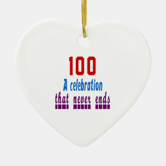 100 birthday designs Double-Sided heart ceramic christmas ornament
