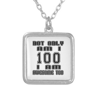 100 Birthday Designs Square Pendant Necklace