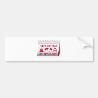 100 % birthday, fabric tag, textile label design bumper sticker
