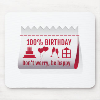 100 % birthday, fabric tag, textile label design mouse pad