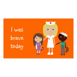 100 Bookmarks Cute Nurse & Kids I Was Brave Today Business Card
