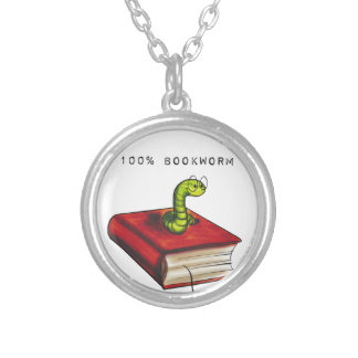 100% Bookworm Round Pendant Necklace