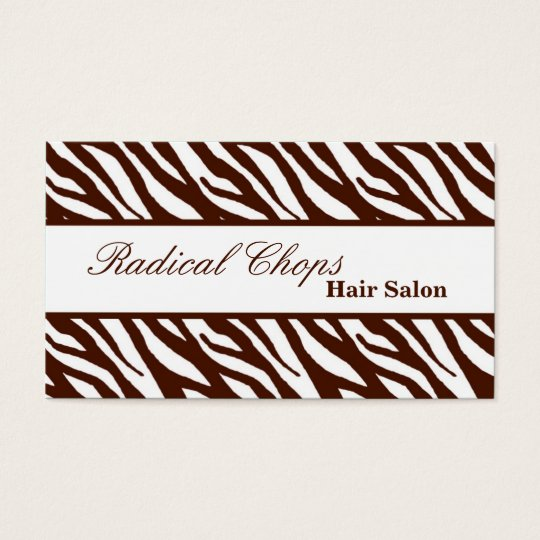 100 Borwn White Zebra Print Pattern Business Card