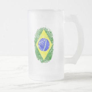 100% Brazilian DNA fingerprint Brasil pride gifts Frosted Glass Beer Mug