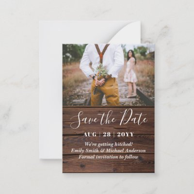100 Budget RUSTIC PHOTO Save Date and Envelopes Advice Card