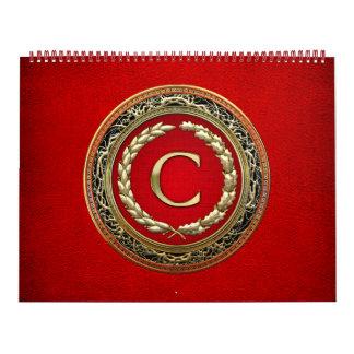 "[100] ""C"" Gold Vintage Monogram Calendar"