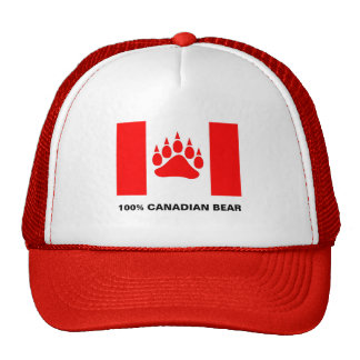 100% Canadian Bear Canadian Flag With Bear Paw Mesh Hats