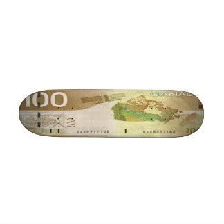 100 Canadian Dollar Bill Skateboard Mini