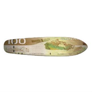 100 Canadian Dollar Bill Skateboard Oldschool