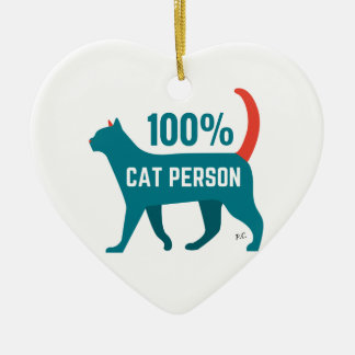 100% Cat Person Decoration Double-Sided Heart Ceramic Christmas Ornament