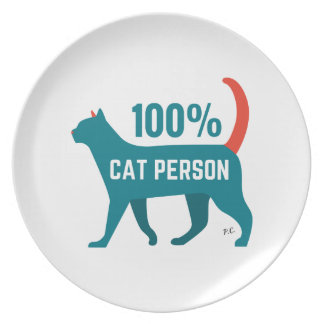 100% Cat Person Plate