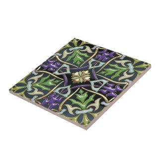 [100] Celtic Cross [Gold with Black Enamel] Ceramic Tile