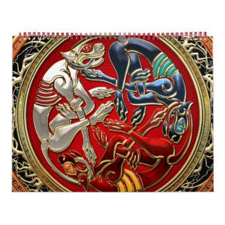 [100] Celtic Treasures - Three Dogs on Gold Calendar