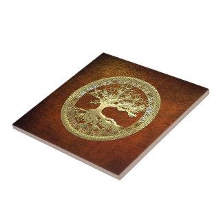 [100] Celtic Tree of Life [Gold] Ceramic Tile